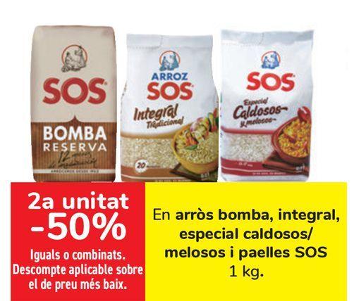 Oferta de En arroz Bomba, Integral, Especial Caldosos/ Melosos y Paellas SOS  por