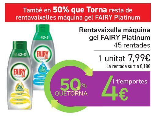 Oferta de Lavavajillas máquina gel FAIRY Platinum por 7,99€