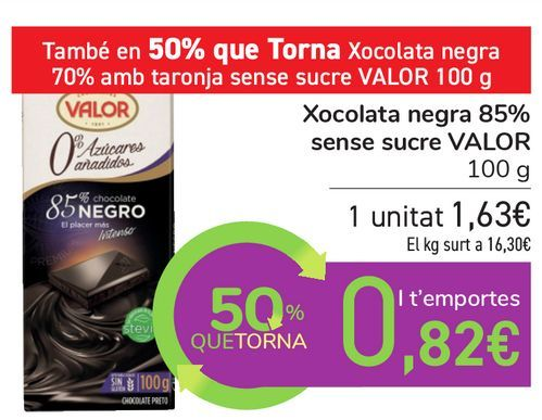 Oferta de Chocolate negro 85% sin azúcar VALOR por 1,63€