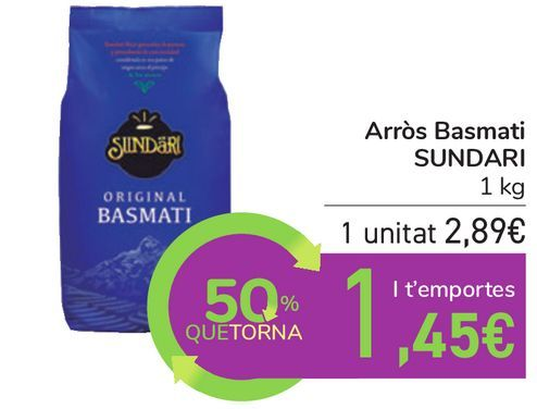 Oferta de Arroz Basmati SUNDARI por 2,89€