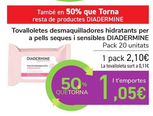 Oferta de Toallitas desmaquillantes hidratantes para pieles secas y sensibles DIADERMINE por 2,1€