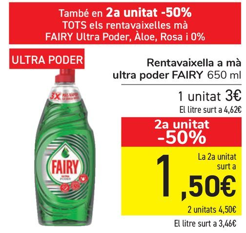 Oferta de Lavavajillas a mano ultra poder FAIRY  por 3€