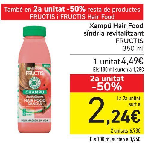 Oferta de Champú Hair Food sandía revitalizantes FRUCTIS  por 4,49€