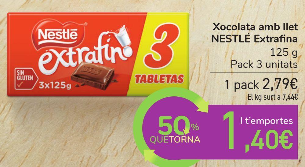 Oferta de Chocolate con leche NESTLÉ Extrafino por 2,79€