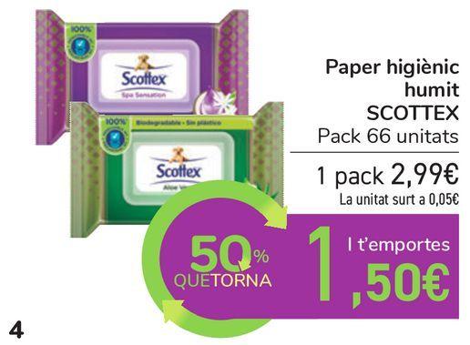 Oferta de Papel higiénico húmedo SCOTTEX por 2,99€