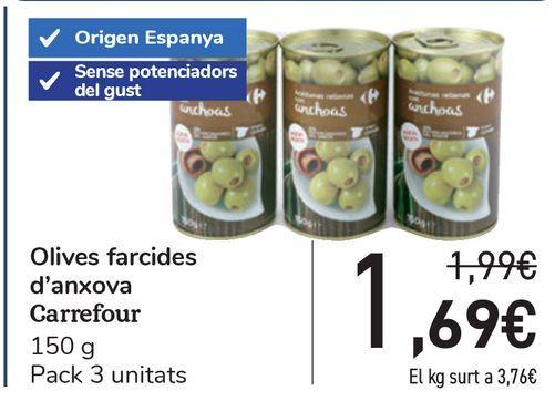 Oferta de Aceitunas rellenas de anchoa Carrefour  por 1,69€