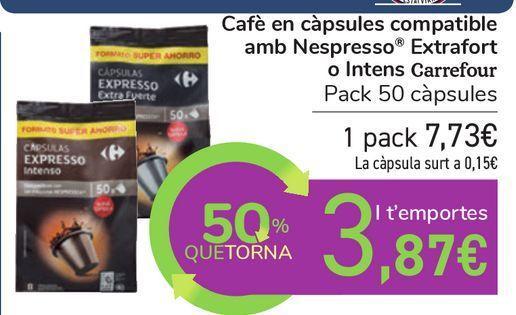 Oferta de Café en cápsulas compatible con Nespresso Extrafuerte o Intenso Carrefour por 7,73€