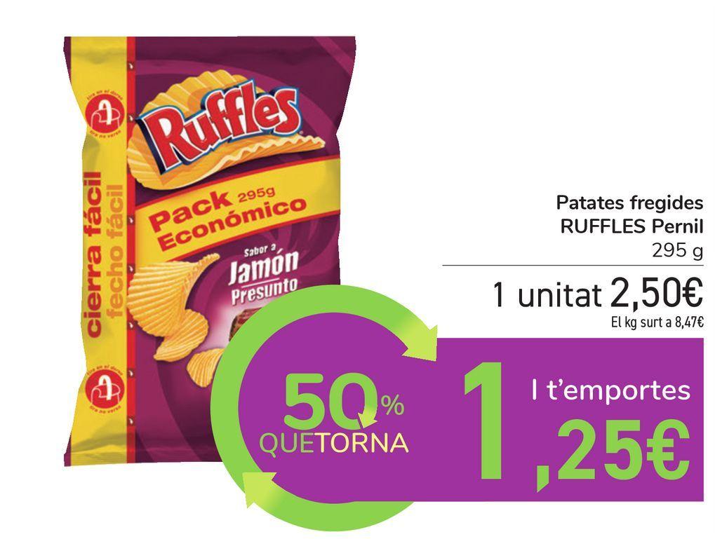 Oferta de Patatas fritas RUFFLES Jamón por 2,5€