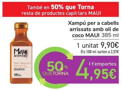 Oferta de Champú para pelo rizado con aceite de coco MAUI por 9,9€