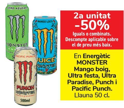 Oferta de En Energético MONSTER Mango loco, Ultra fiesta, Ultra Paradise, Punch y Pacific Punch  por