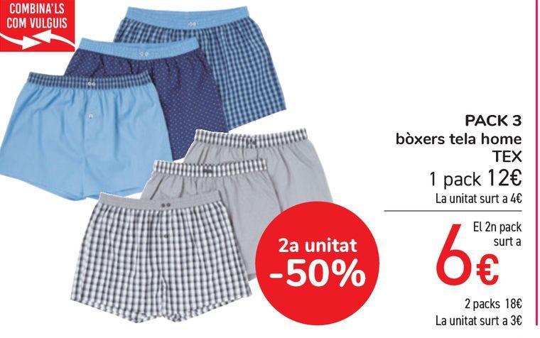 Oferta de PACK 3 boxers tela hombre TEX por 12€
