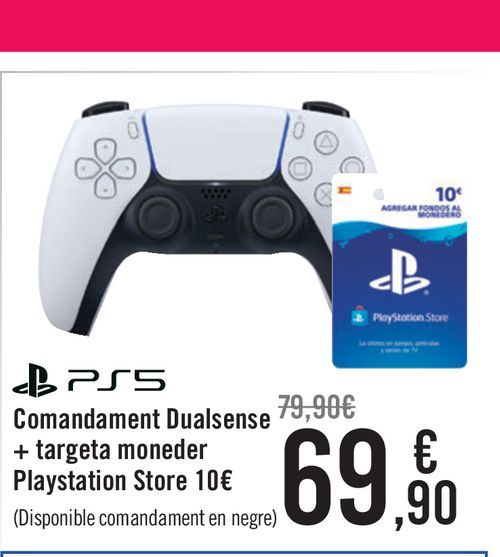 Oferta de Mando Dualsense + tarjeta monedero Playstation Store 10€ PS5 por 69,9€