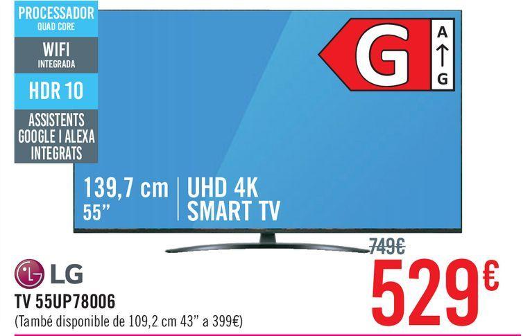 """Oferta de TV LED 139,7 cm (55"""") LG 55UP78006LB, 4K UHD, Smart TV por 529€"""
