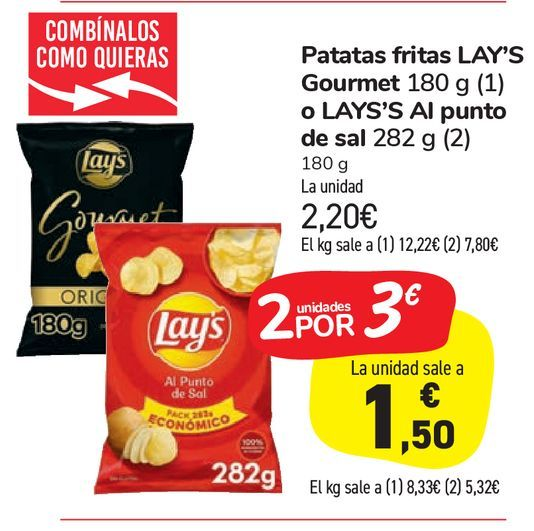 Oferta de Patatas fritas LAY'S Gourmet 180 g o LAYS'S Al punto de sal por 2,2€