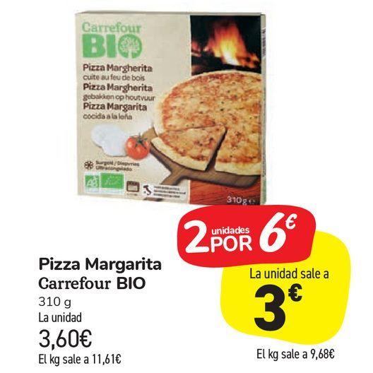 Oferta de Pizza Margarita Carrefour Bio por 3,6€