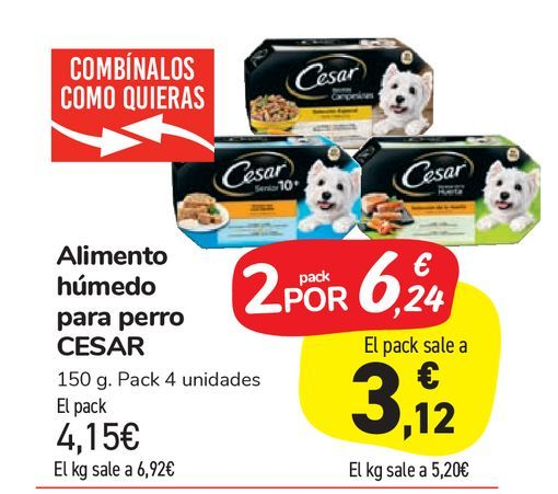 Oferta de Alimento húmedo para perro CESAR por 4,15€