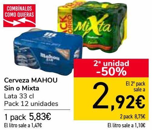 Oferta de Cerveza MAHOU Sin o Mixta  por 5,83€