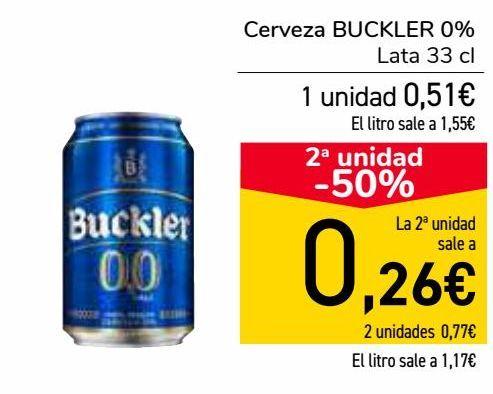 Oferta de Cerveza BUCKLER 0%  por 0,51€