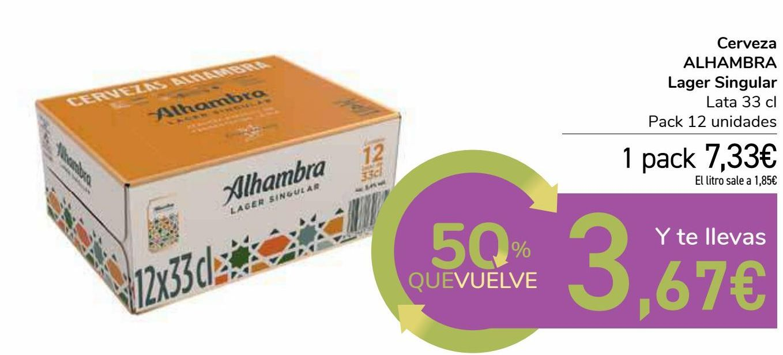 Oferta de Cerveza ALHAMBRA Lager Singular por 7,33€