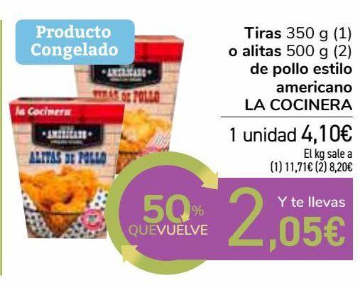 Oferta de Tiras o alitas de pollo estilo americano LA COCINERA  por 4,1€