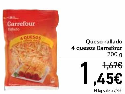 Oferta de Queso rallado 4 quesos Carrefour  por 1,45€