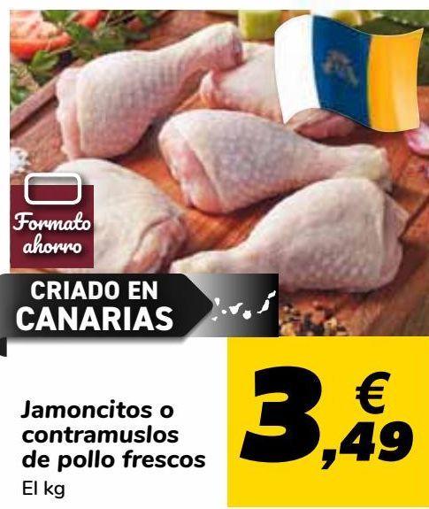 Oferta de Jamoncitos o contramuslos de pollo Carrefour fresco por 3,49€