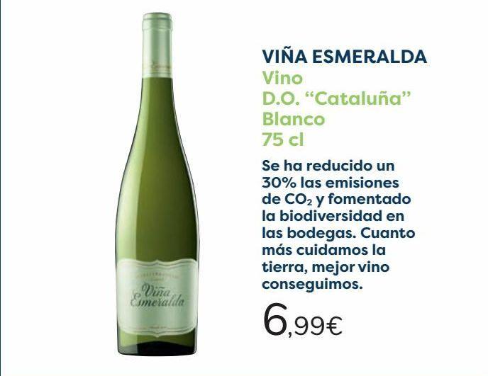 Oferta de VIÑA ESMERALDA Vino D.O. ''Cataluña'' Blanco  por 6,99€