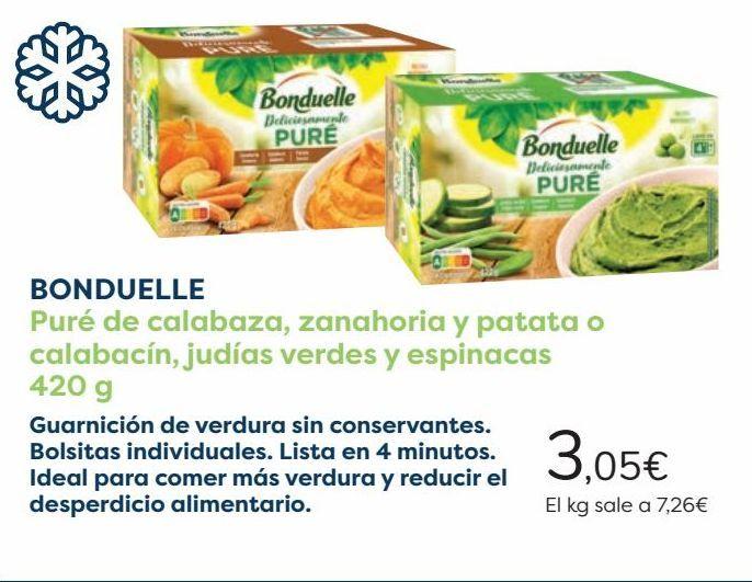 Oferta de BONDUELLE Puré de calabaza, zanahoria y patata o calabacín, judías verdes y espinacas  por 3,05€