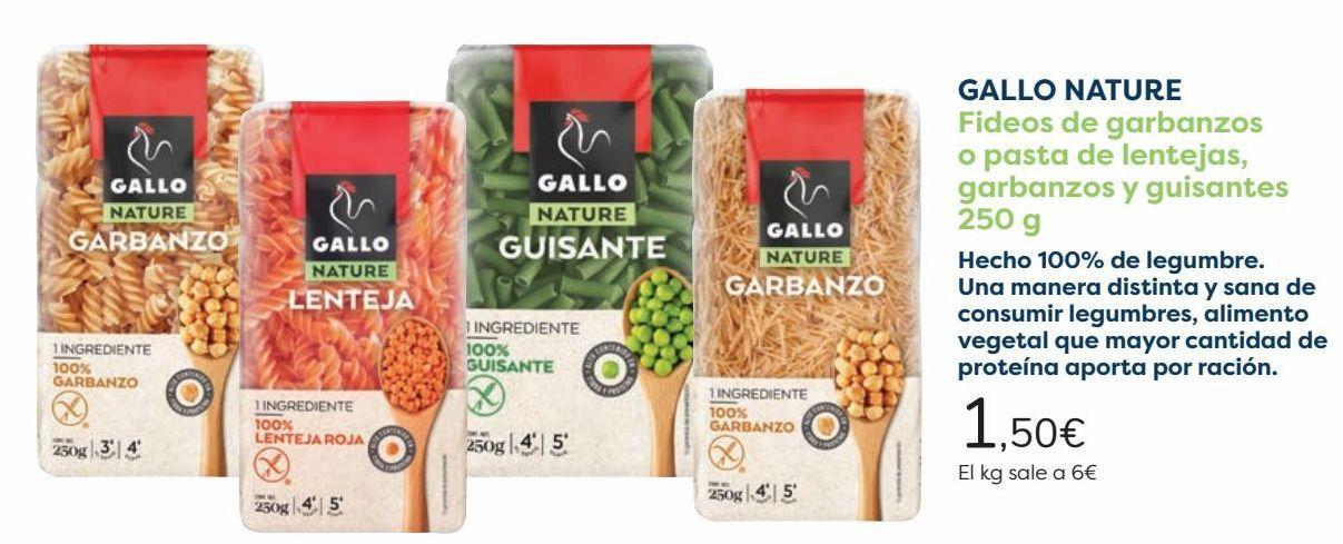 Oferta de GALLO NATURE Fideos de garbanzos o pasta de lentejas, garbanzos y guisantes  por 1,5€