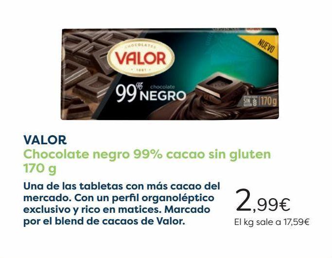 Oferta de VALOR Chocolate negro 99% cacao sin gluten  por 2,99€