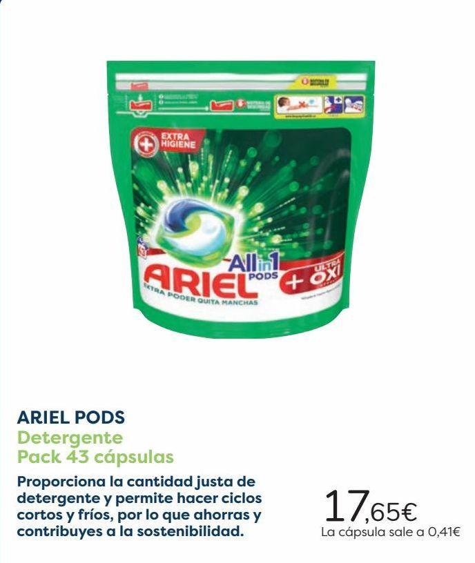 Oferta de ARIEL PODS Detergente Pack 43 cápsulas  por 17,65€