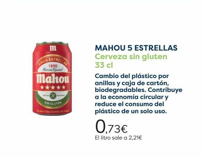 Oferta de MAHOU 5 ESTRELLAS Cerveza sin gluten   por 0,73€