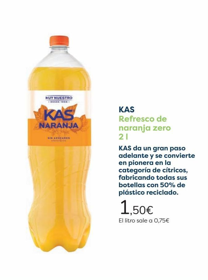 Oferta de KAS Refresco de naranja zero  por 1,5€