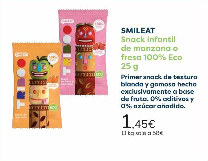 Oferta de SMILEAT Snack infantil de manzana o fresa 100% Eco  por 1,45€