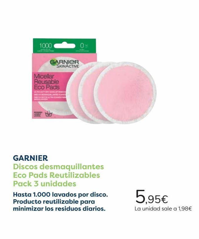 Oferta de GARNIER Discos desmaquillantes Eco Pads Reutilizables Pack 3 uniades  por 5,95€