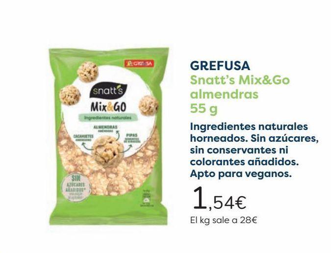 Oferta de GREFUSA Snatt's Mix&Go almendras  por 1,54€