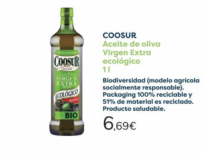 Oferta de COOSUR Aceite de oliva Virgen Extra Ecológico  por 6,69€