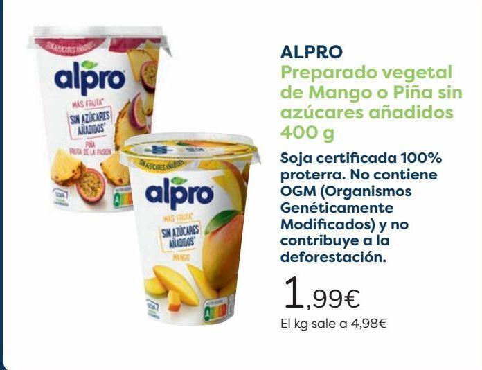 Oferta de ALPRO Preparado vegetal de Mango o Piña sin azúcares añadidos  por 1,99€