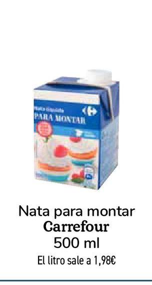 Oferta de Nata para montar Carrefour  por 0,99€