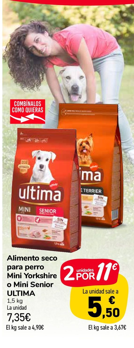 Oferta de Alimento seco para perro Mini Yorkshire o Mini Senior ULTIMA por 7,35€