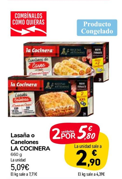 Oferta de Lasaña o Canelones LA COCINERA por 5,09€