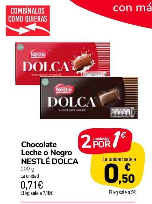Oferta de Chocolate Leche o Negro NESTLÉ DOLCA por 0,71€