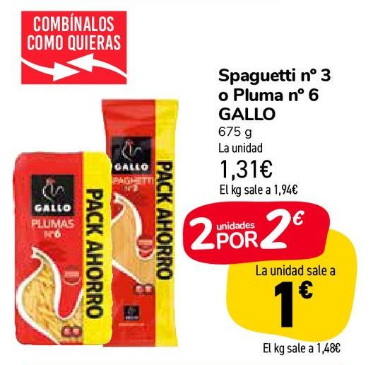 Oferta de Spaguetti nº 3 o Pluma nº 6 GALLO por 1,31€