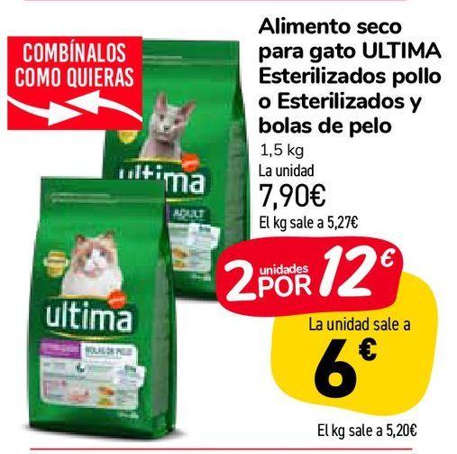 Oferta de Alimento seco para gato ULTIMA Esterilizados pollo o Esterilizados y bolas de pelo por 7,9€