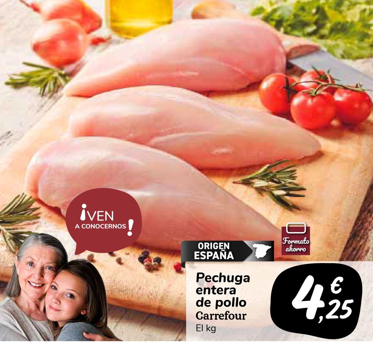 Oferta de Pechuga entera de pollo Carrefour por 4,25€