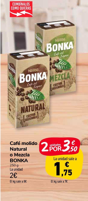 Oferta de Café molido Natural o Mezcla BONKA por 2€