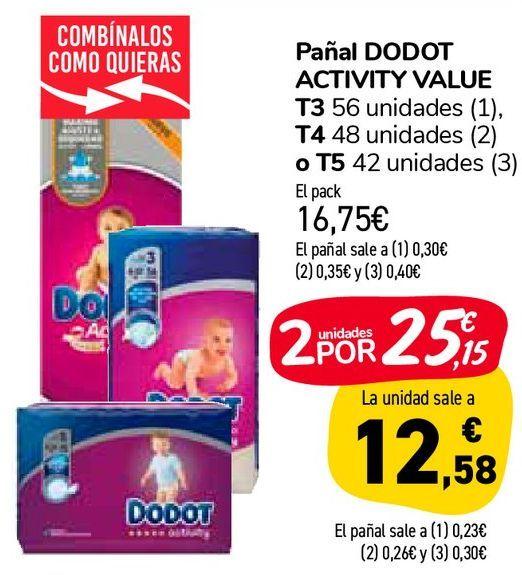 Oferta de Pañal DODOT ACTIVITY VALUE por 16,75€