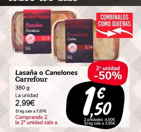 Oferta de Lasaña o Canelones Carrefour por 2,99€