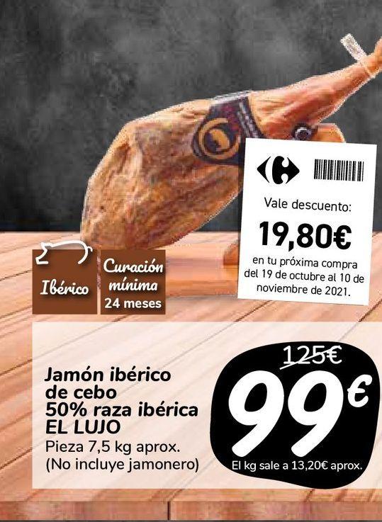Oferta de Jamón ibérico de cebo 50% raza ibérica EL LUJO  por 99€