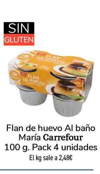 Oferta de Flan de huevo Al baño María Carrefour por 0,99€